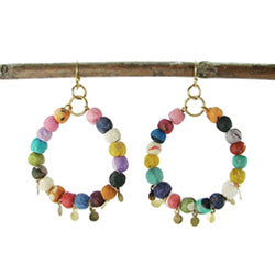 Kantha Disc Hoop Earrings