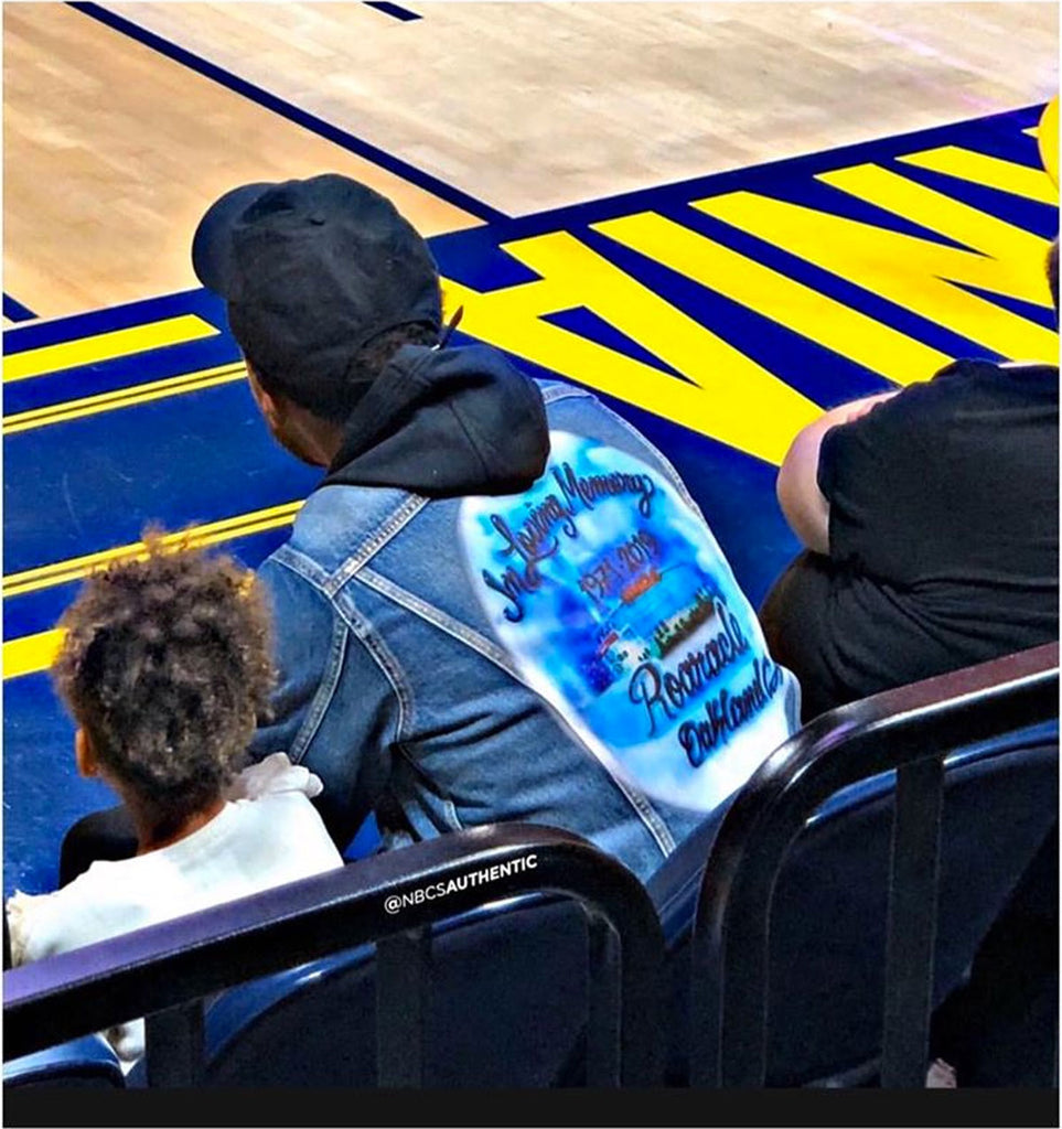 "Stephen Curry Spotted wearing the ""In Loving Memory"" Denim Jacket"