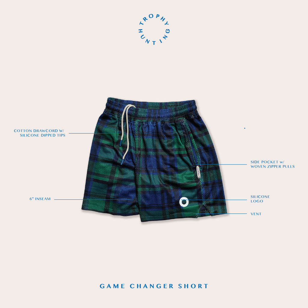 GAME CHANGER SHORTS - BLACK WATCH PLAID