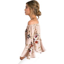 Load image into Gallery viewer, Omppu blommig Off Shoulder Chiffong Blus