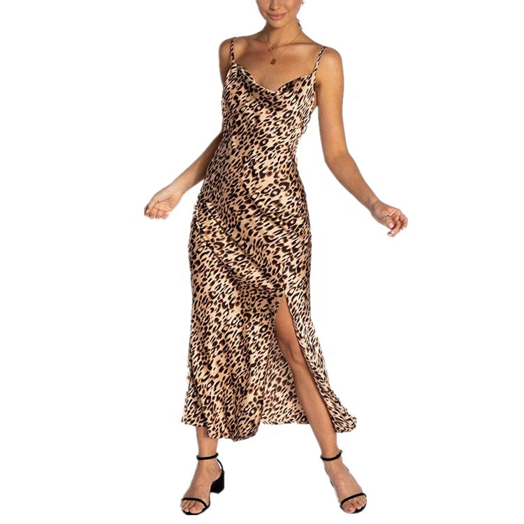 Omppu Stacy Sexy Cowl Neckline Leopard Maxi Dress