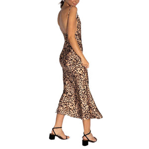 Omppu Stacy Sexy Kåpe Halsen Leopard Maxi Dress
