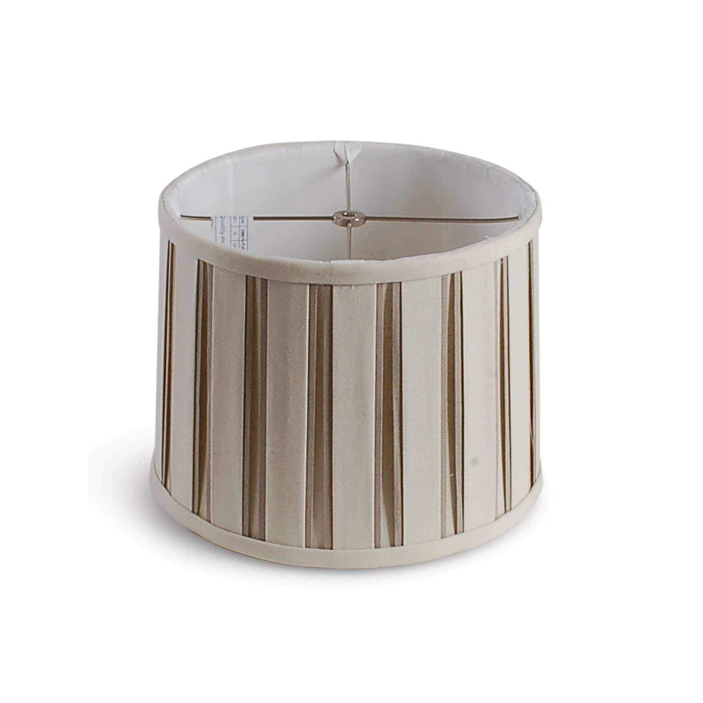 "12"" Box Pleated Linen Drum Shade - Beige and White AVALA-BG12"