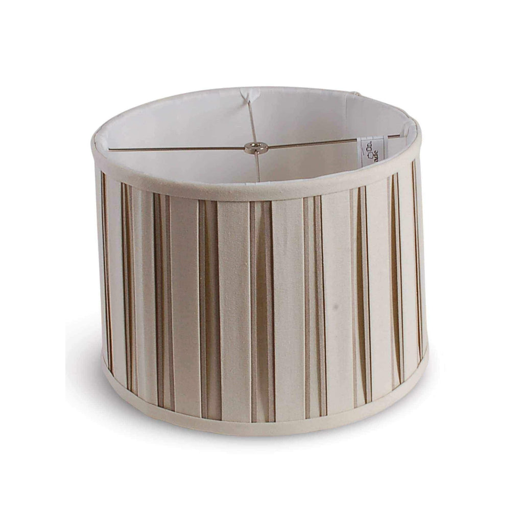 "14"" Box Pleated Linen Drum Shade - Beige and White AVALA-BG14"