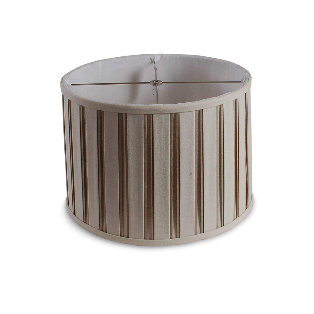 "16"" Box Pleated Drum Shade - Beige and White-Room Tonic"