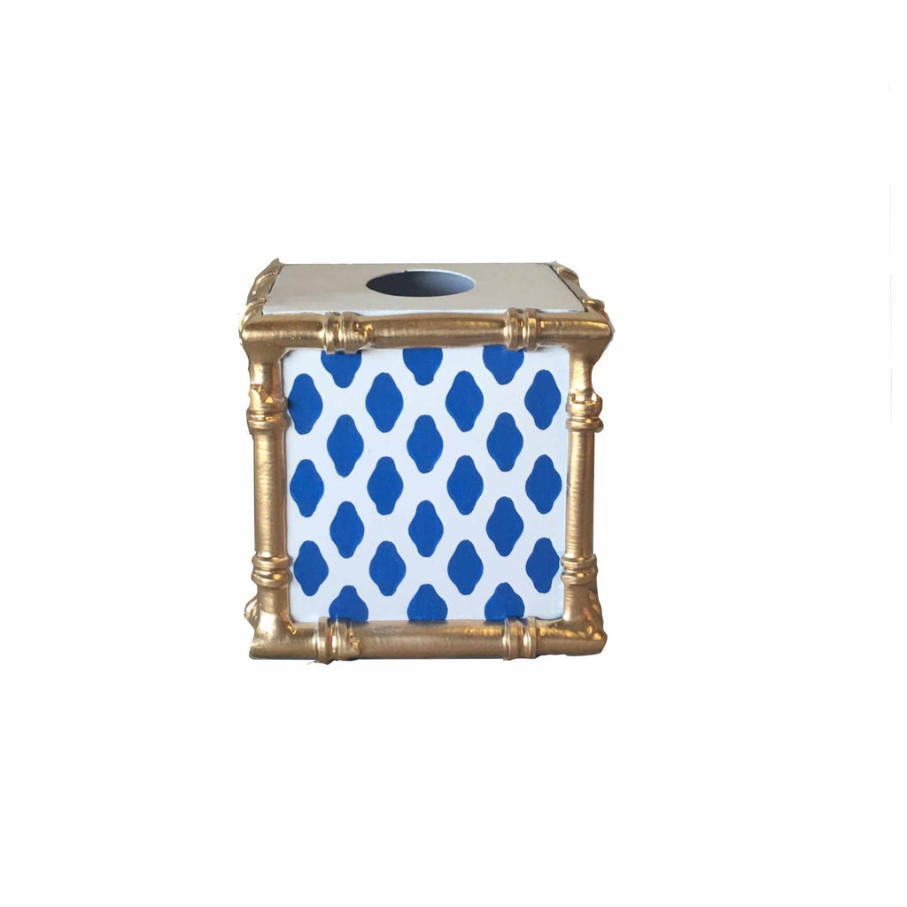Bamboo Wastebasket in Navy Parsi-Room Tonic