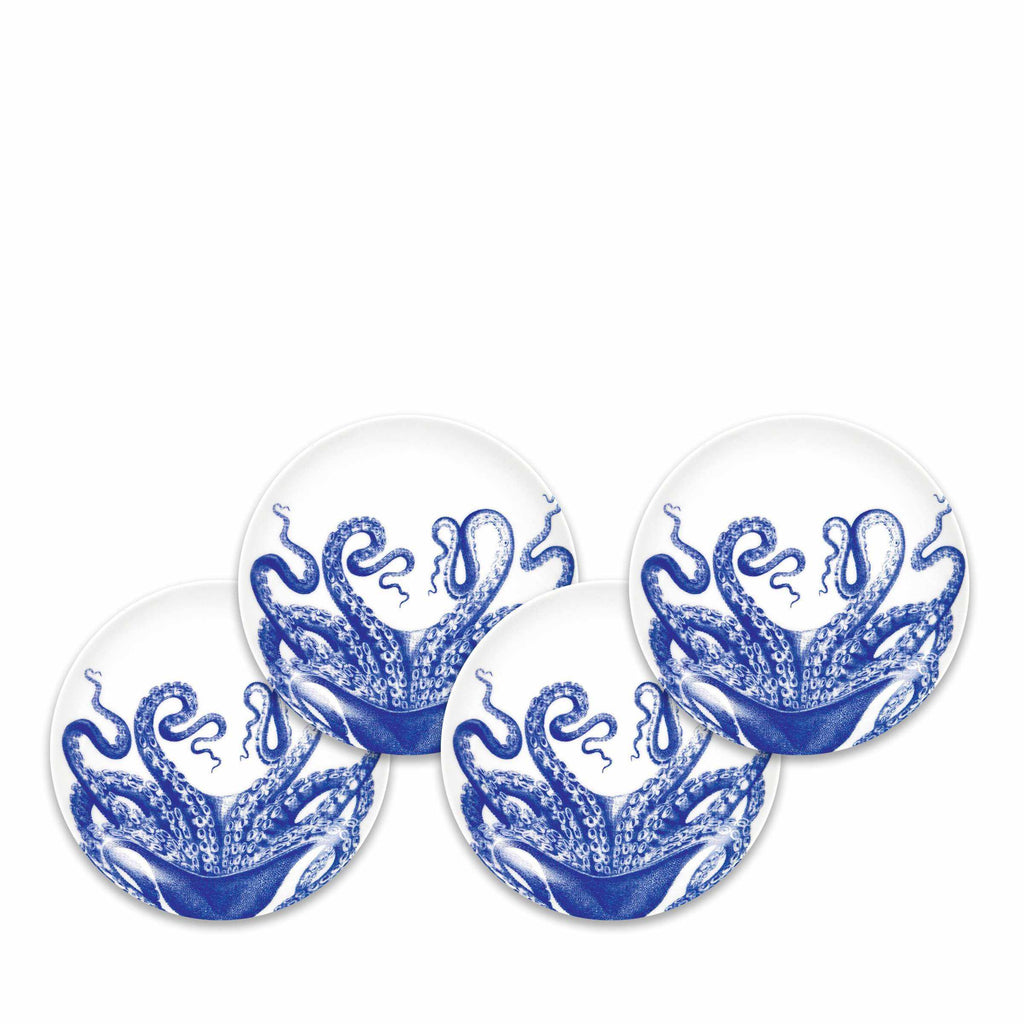 Blue Lucy Octopus Appetizer Plates Set/4
