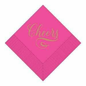 "Boxed Cocktail Napkins - ""Cheers"" in Gold on a Hot Pink Field 036-0103-X"