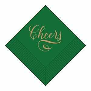"Boxed Cocktail Napkins - ""Cheers"" in Gold on a Hunter Green Field 036-0105-X"