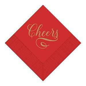 "Boxed Cocktail Napkins - ""Cheers"" in Gold on a Red Field 036-0106-X"