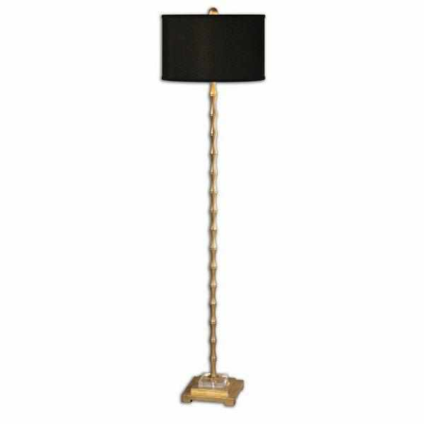Braxton Metal Bamboo Floor Lamp with Black Shade-Room Tonic
