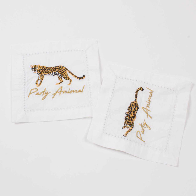 Cheetah Embroidered Cocktail Napkins - Set of 4-Room Tonic