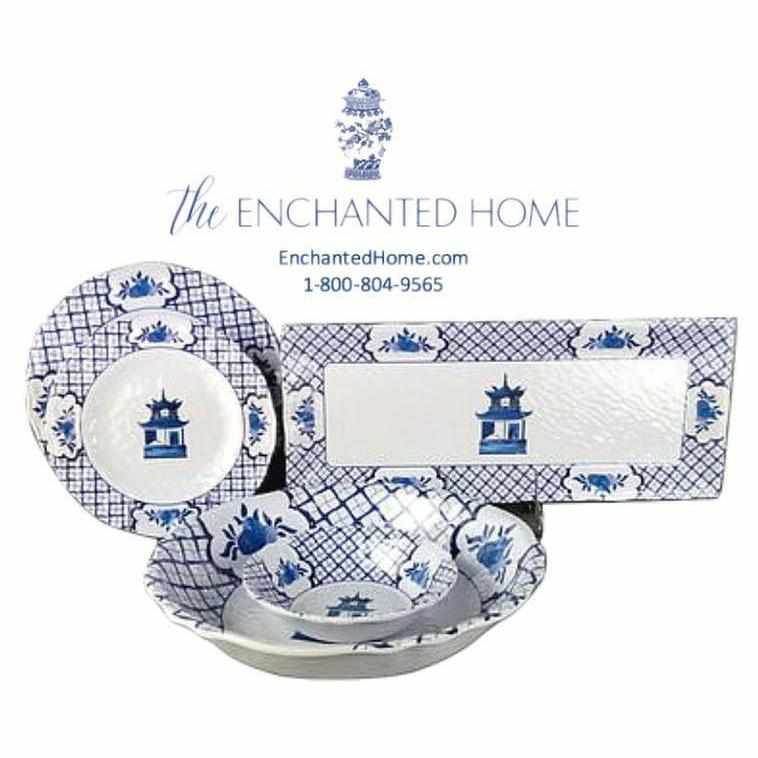 Chinoiserie Melamine Dinner Plates - Set of 4-Room Tonic