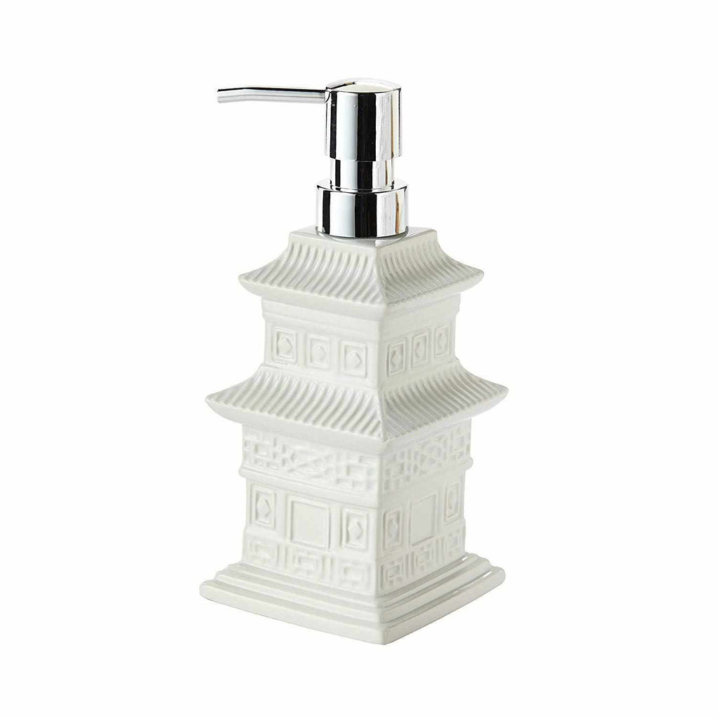 Chinoiserie White Glaze Blanc de Chine Pagoda Soap/Lotion Dispenser-Room Tonic