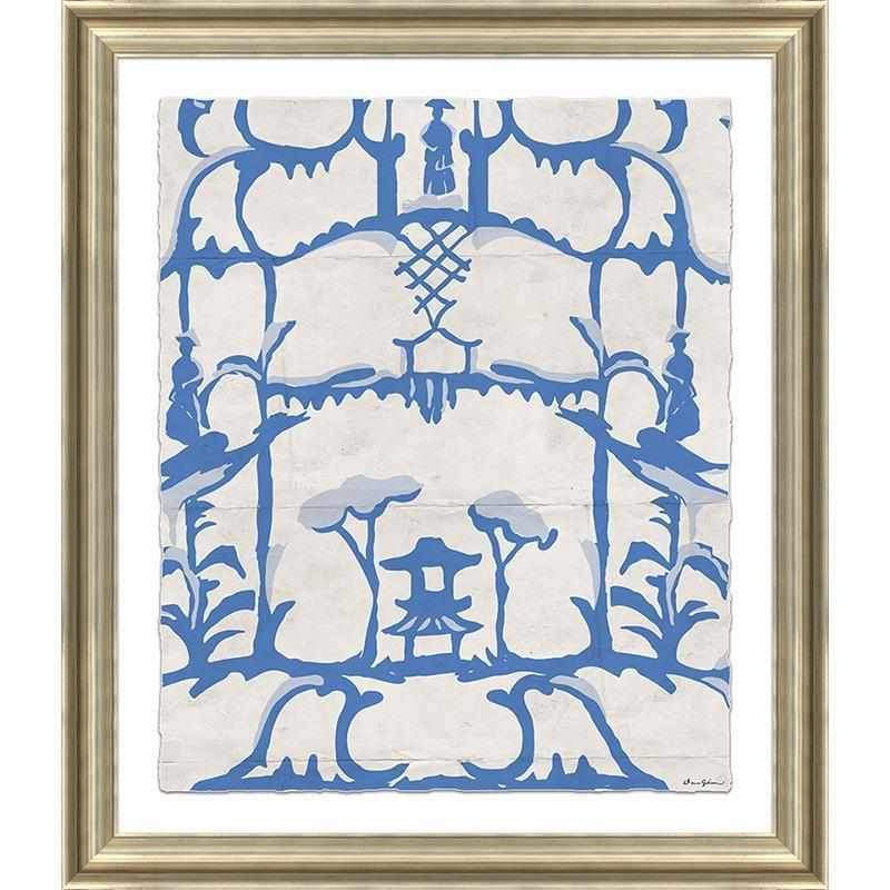 Folly in Blue - Large Giclée Print in Brushed Gold Frame DG-0126