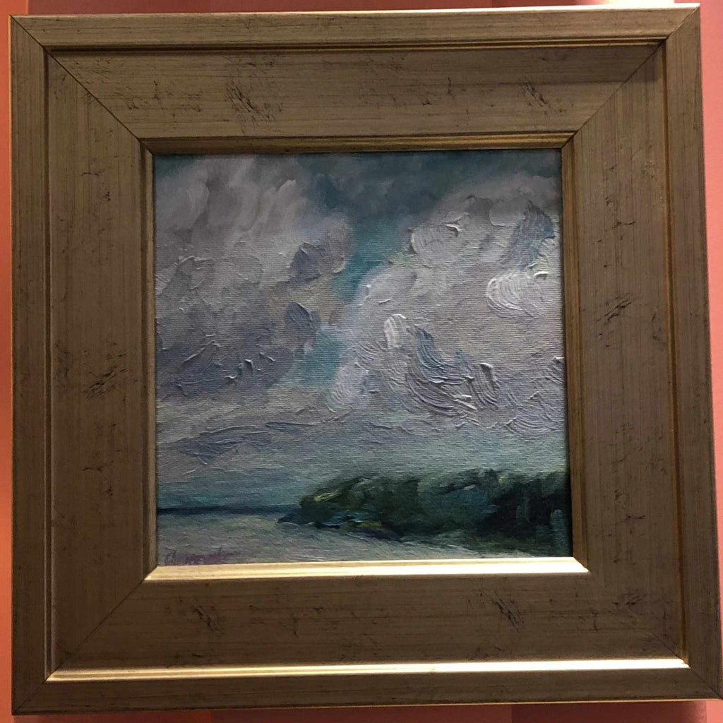 Framed Oil on Canvas by Diane Carnevale - Big Sky Over Hog Island-Room Tonic