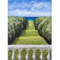 Framed Oil on Canvas by Diane Carnevale - Castle Hill Grand Allee Allee-Room Tonic