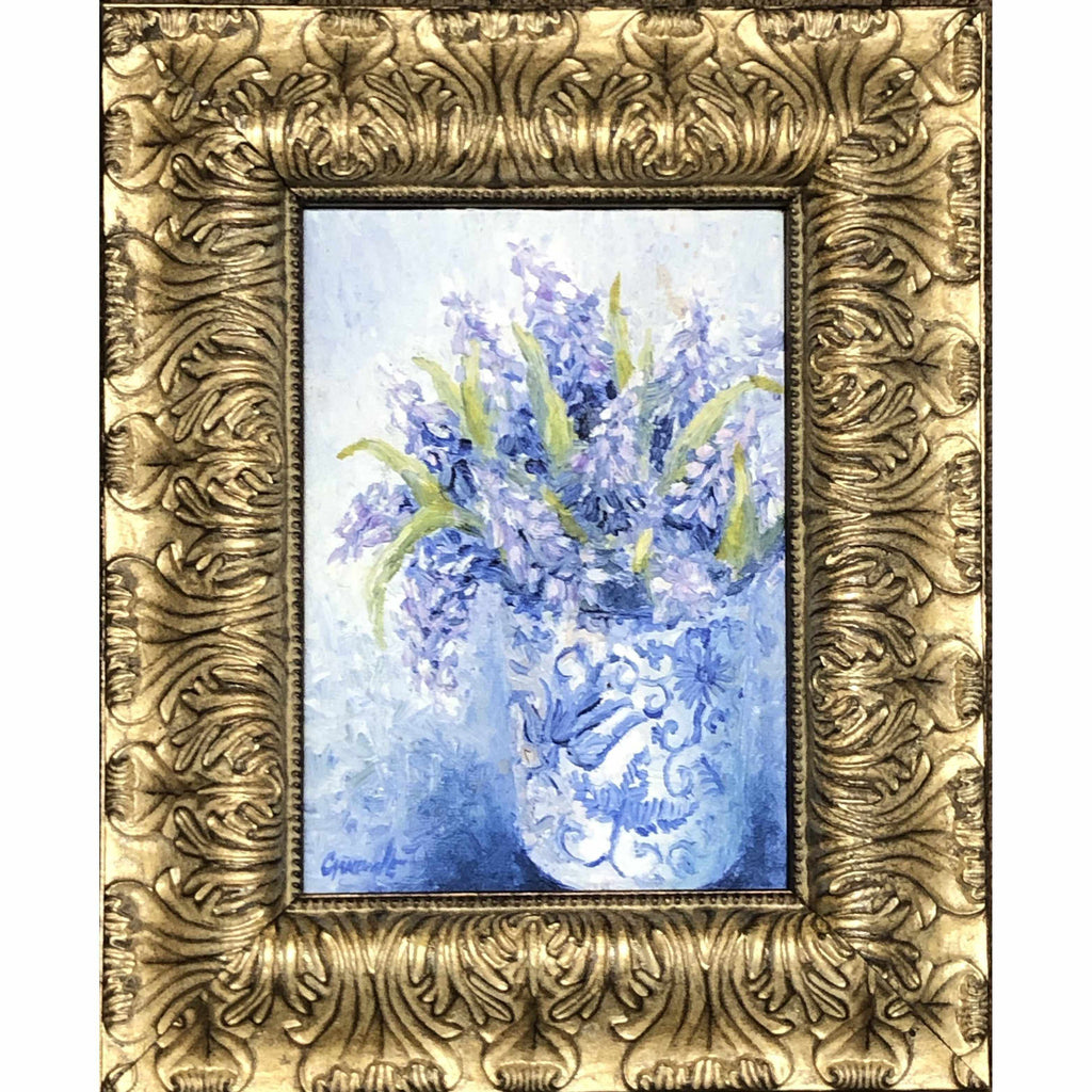 Framed Oil on Canvas by Diane Carnevale - Grape Muscari-Room Tonic