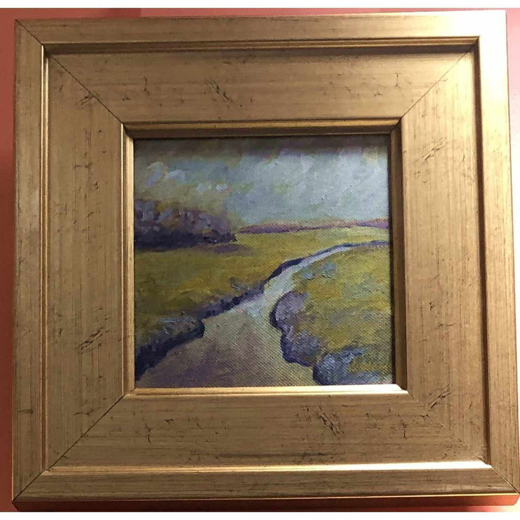 Framed Oil on Canvas by Diane Carnevale - Spring Marsh-Room Tonic
