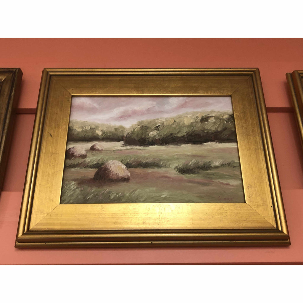 Framed Oil on Canvas by Diane Carnevale - Sunset on Newbury Haystacks-Room Tonic