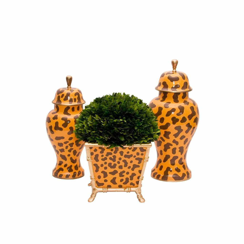Golden Leopard Cachepot and Jars-Room Tonic