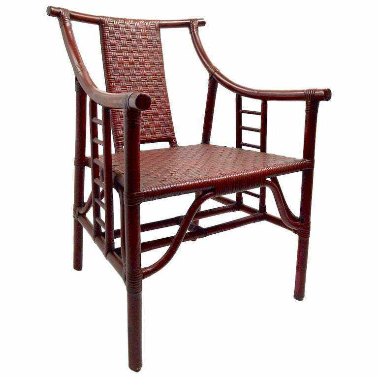 Hollywood Regency (Mid-20th Century) Chinese Wood Carved Bamboo Arm Chair with Wicker Yoke Back-Room Tonic