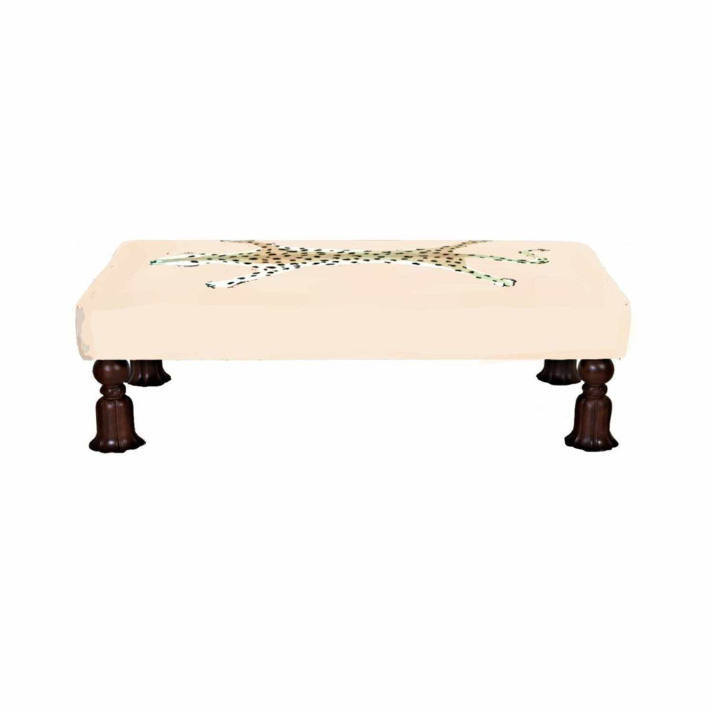 Islesboro Bench in Cream Leopard-Room Tonic