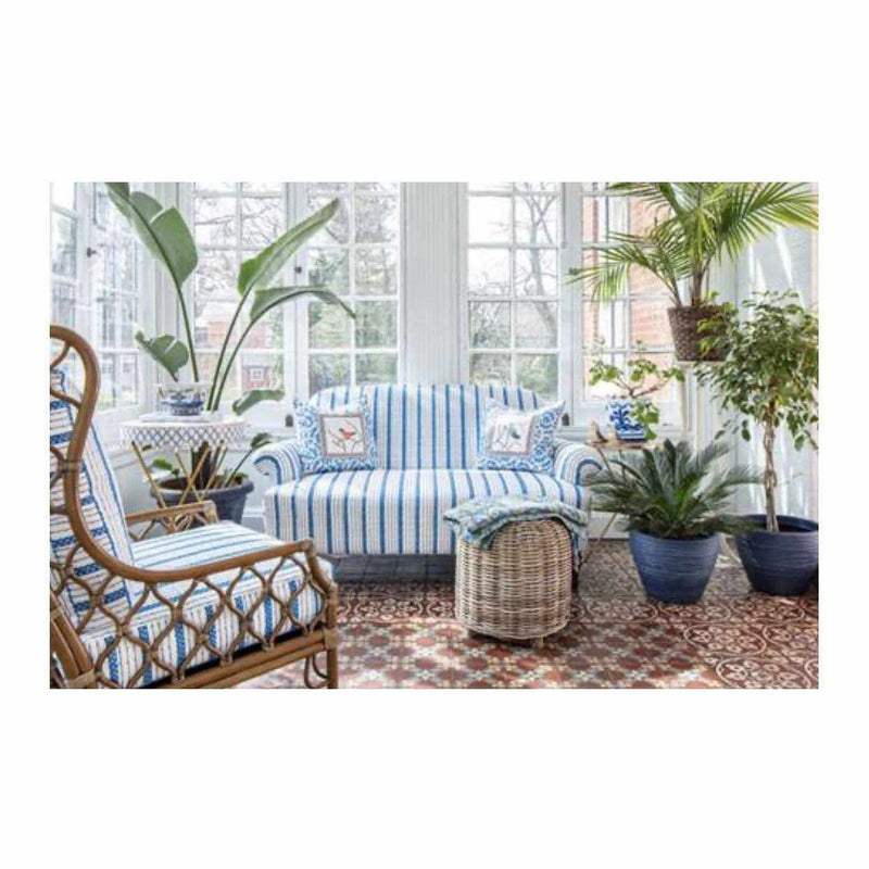 Josie Love Seat in Blue Ticking-Room Tonic