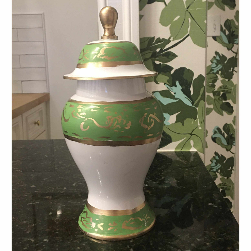 Jules in Green Hand Painted Ginger Jar 105-JG