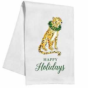 "Kitchen Towel - ""Happy Holidays"" Hand-Painted Cheetah with Wreath-Room Tonic"
