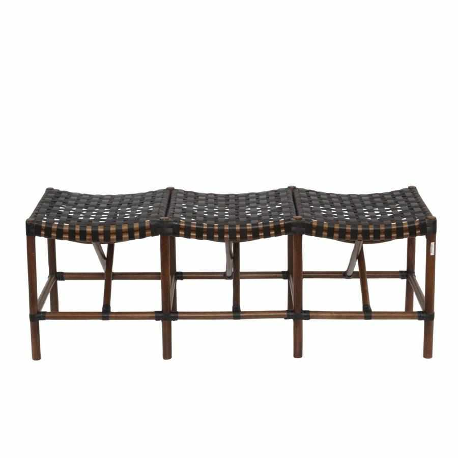 Malibu Bench with Cocoa Frame and and Black Leather 703CB