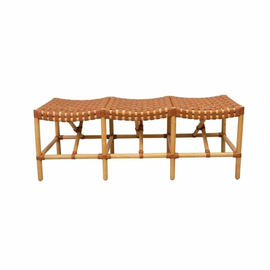 Malibu Bench with Natural Wood Frame and Brown Leather-Room Tonic