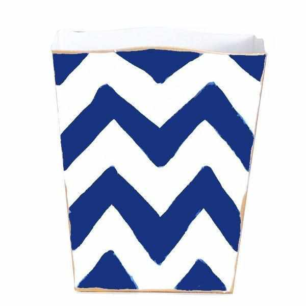 Navy Bargello Wastebasket-Room Tonic