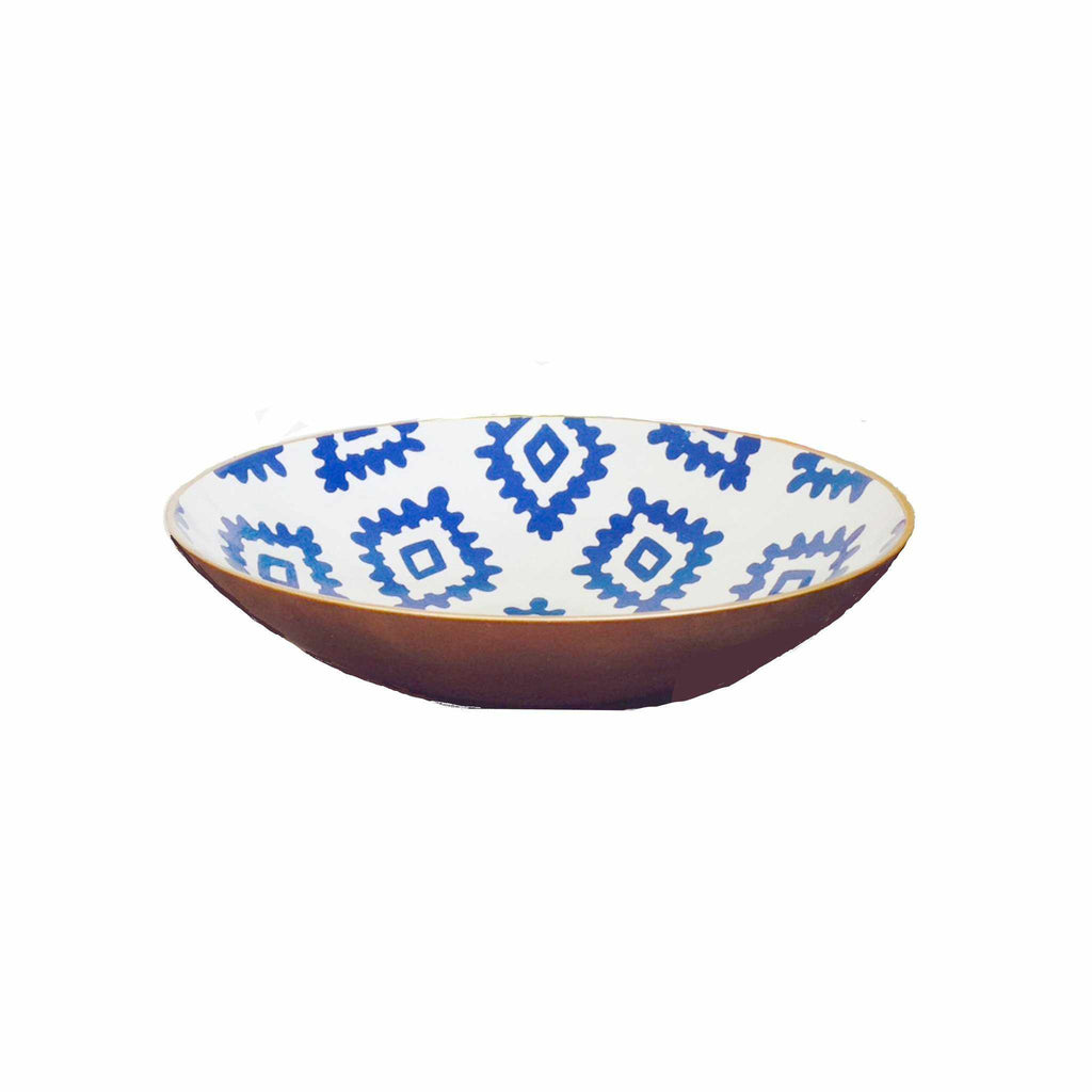 Navy Block Print Bowl, Medium-Room Tonic
