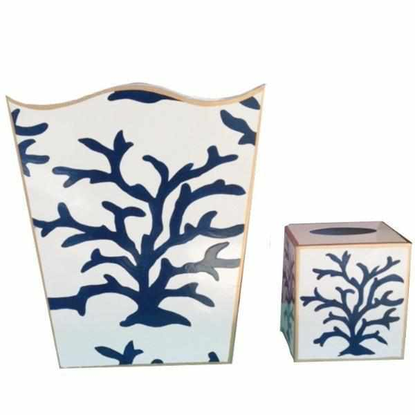 Navy Coral Wastebasket-Room Tonic
