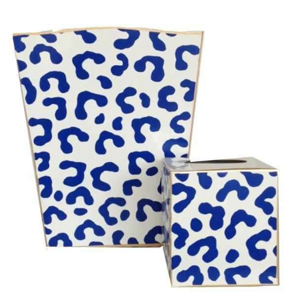 Navy Ocelot Wastebasket , Tissue Box sold separately-Room Tonic