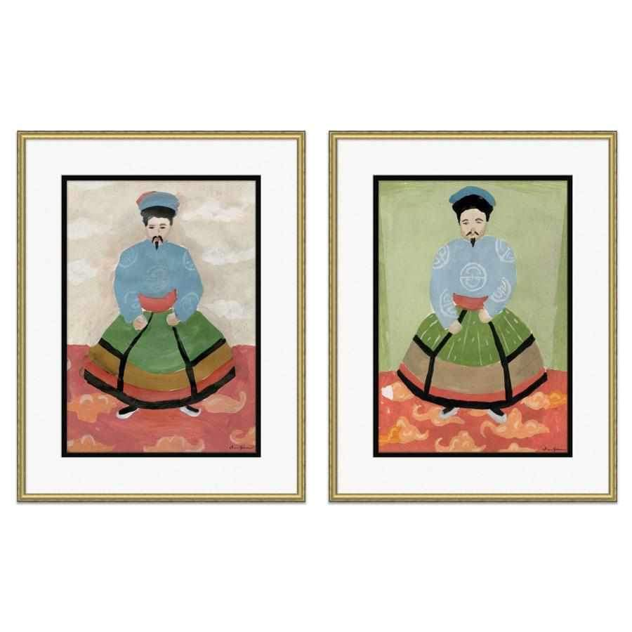 Noble Emperor with Taupe or Green Field - Large Giclée Print Matted with a Gilt Wood Frame