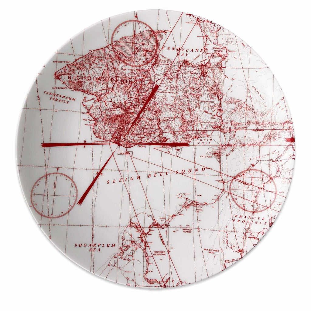 North Pole Holiday Hunt Platter with Imaginary Places in Red and White