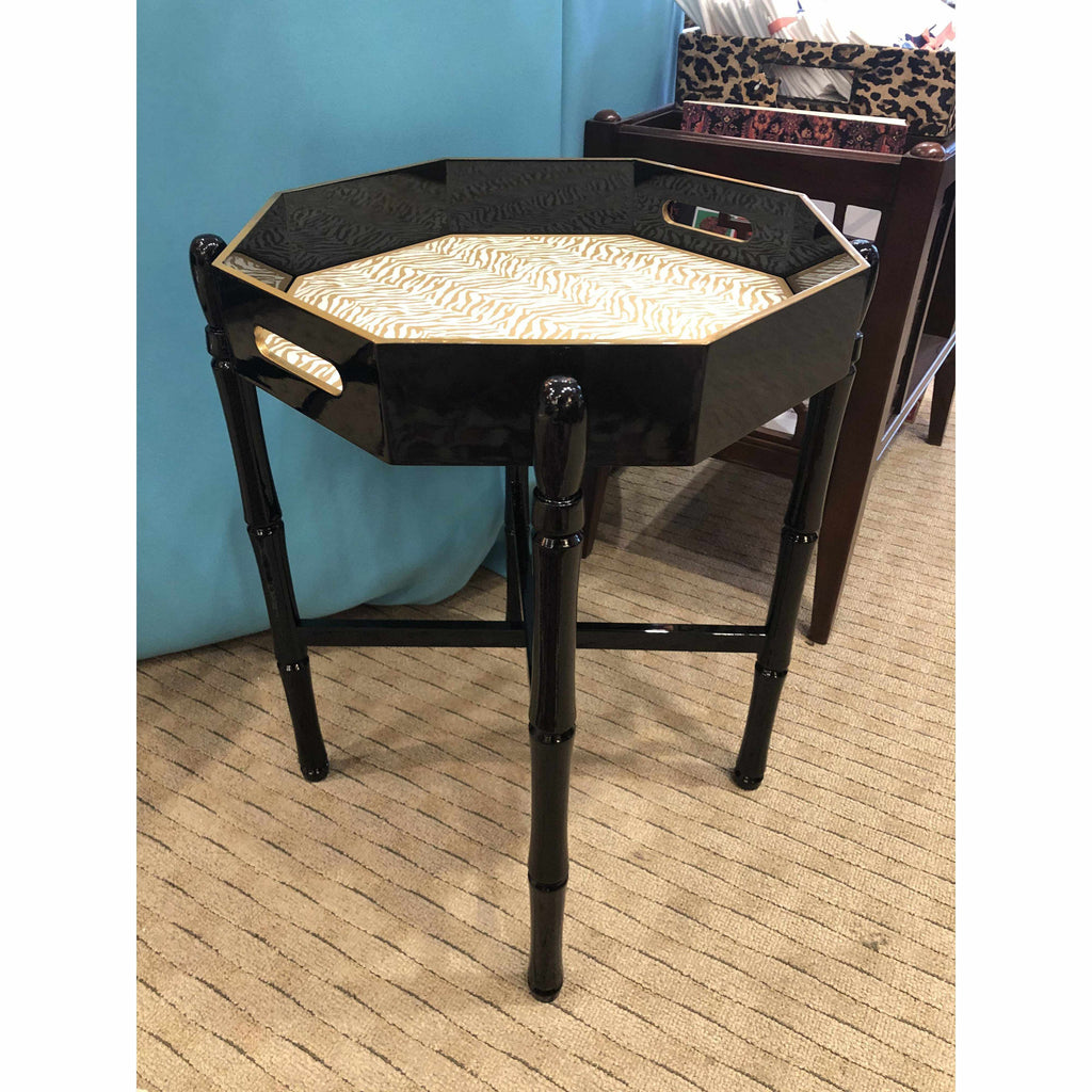 Octagonal Black Lacquered Tray Table-Room Tonic
