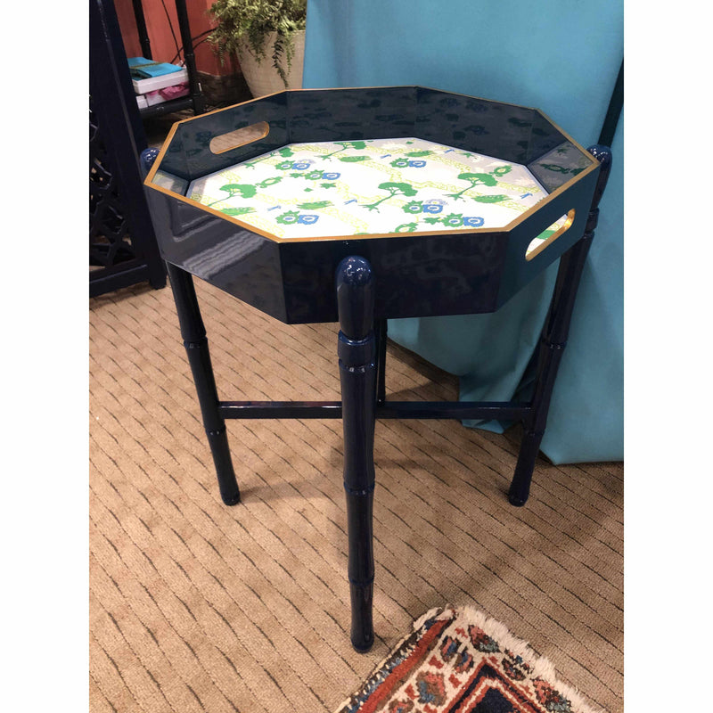Octagonal Navy Lacquered Tray Table-Room Tonic
