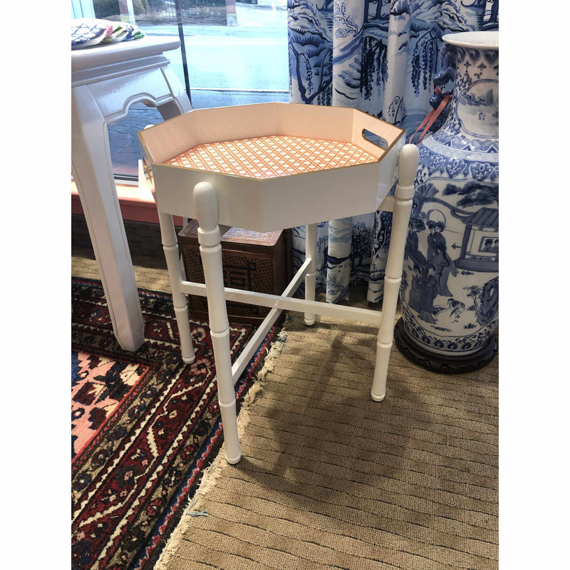 Octagonal White Lacquered Tray Table-Room Tonic