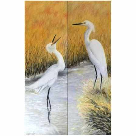 Oil Painting Diptych by Diane Carnevale | EGRETS AT DAWN DC-EGRETS-AT-DAWN-3500