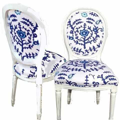 Ottoman in Blue Chairs, Pair