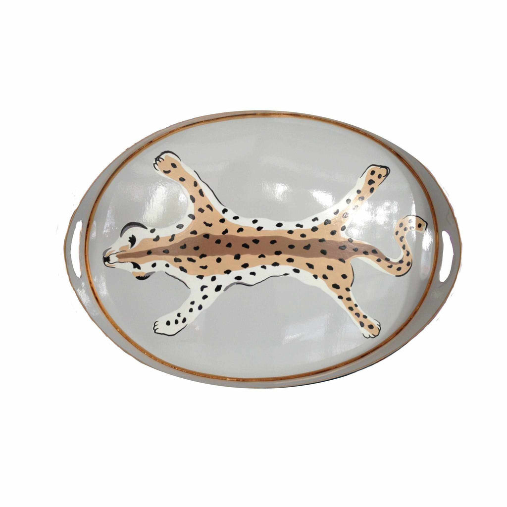 Oval Tray in Grey Leopard-Room Tonic