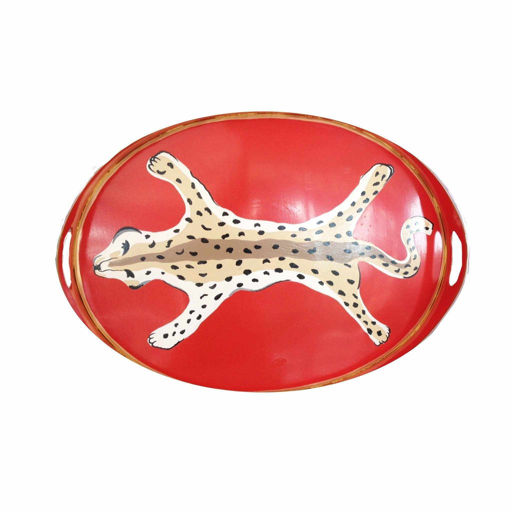 Oval Tray in Orange Leopard-Room Tonic