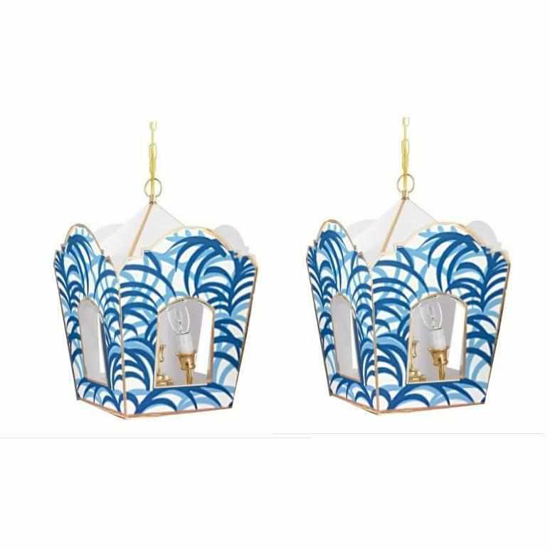 A Pair of Blue Palm Lanterns-Room Tonic