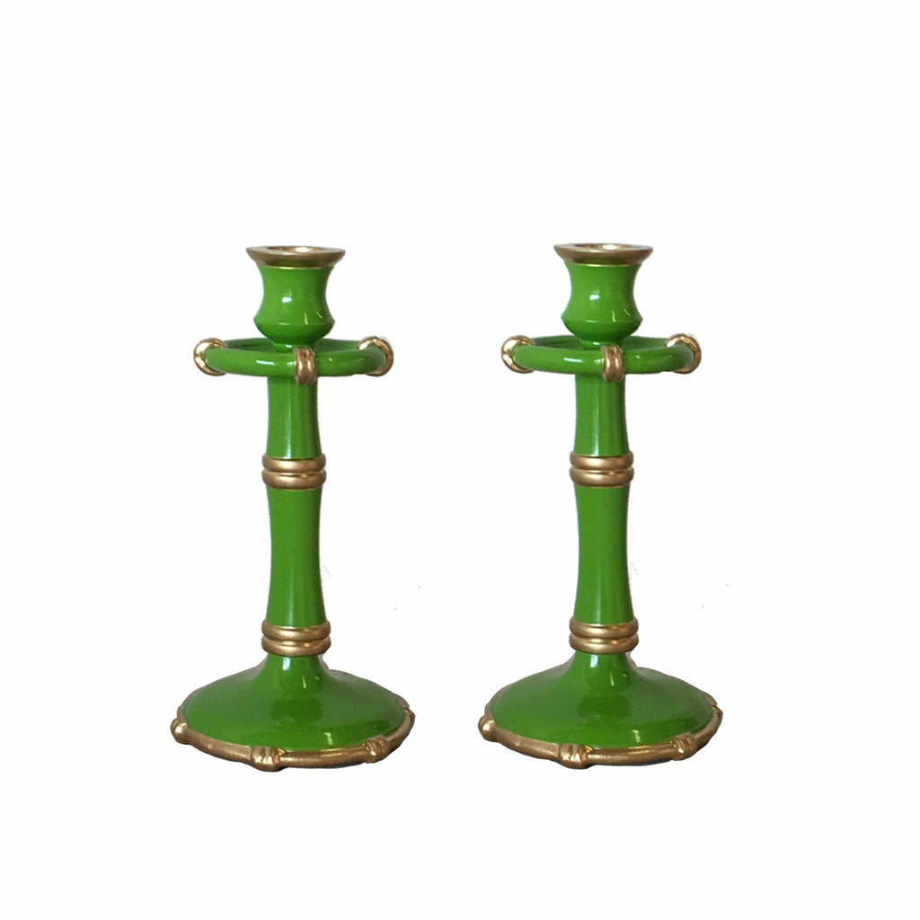 Pair of Medium Bamboo Candlesticks in Green-Room Tonic