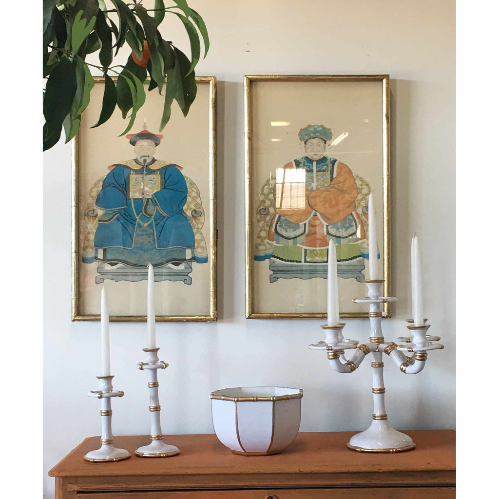 Pair of Medium Bamboo Candlesticks in White-Room Tonic
