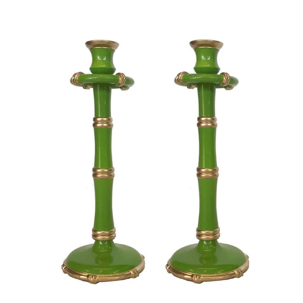 Pair of Tall Bamboo Candlesticks in Green-Room Tonic