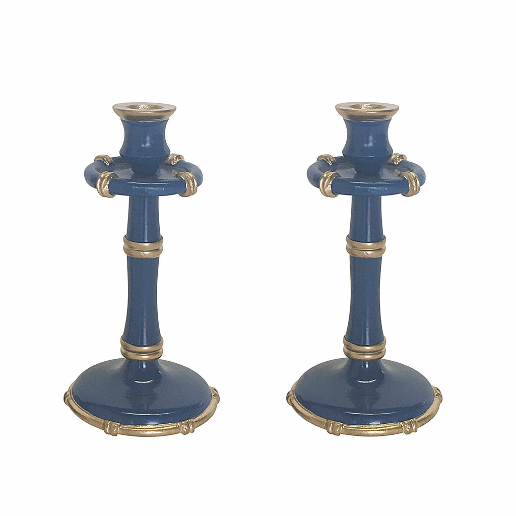 Pair of Tall Bamboo Candlesticks in Navy-Room Tonic
